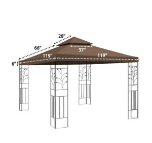 Strong Camel 10' x 10' 2 Tier Canopy Top Cover Patio Replacement Gazebo BROWN