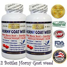 Horny Goat Weed with Maca Now Nature 1600mg 40%Icariin World GNC Strength USA X2