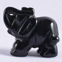 "Obsidian Mini Figurine Natural Stone Elephant Statue Carved Craft 1.5"" Animals D"