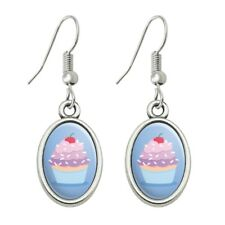 Cute Cupcake Vanilla Cherry with Sprinkles Dangling Drop Oval Charm Earrings
