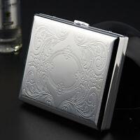 1 PC Metal Cigarette Case Storage Holder 20 Cigarettes Holds  Pocket Box Silver