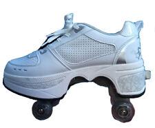 New Unique Quad Kick Roller Skates 4 wheels retractable white