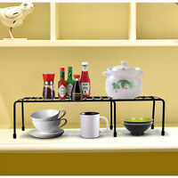 Expandable Kitchen Counter Cabinet Shelf Organizer Rack Storage Counter top Bowl