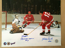 Red Berenson and Ab McDonald double signed Detroit vs St. Louis photo
