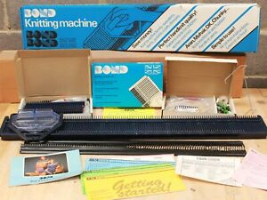 Vintage BOND Manual Knitting Machine Blue Single Bed W/ Accessories BOXED - 250