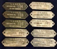 Los Angles & Salt Lake RR Brass Machine Tags Lot of 10 Sequential #s 890-899 NOS