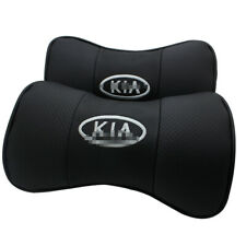 2Pcs Car Headrest AUTO Pillow Black Leather Seat Neck Rest Cushion For kia