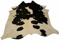 Tapis de Peau de Vache véritable - Noir et crème Classique - 43 p2 - 223 x 214cm