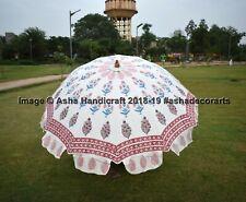 Ethnic Mughal Block Printed Patio Parasols Indian Wedding Garden Umbrella Decor
