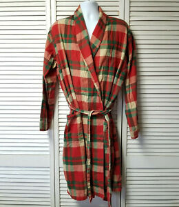 LL Bean Men's L TALL Red Green Beige Plaid Flannel Robe
