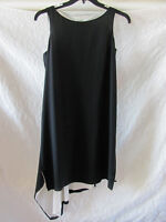 Eileen Fisher Silk Crepe de Chine Dress-Asymmetrical Hem-Black-Size PM- NWT $398