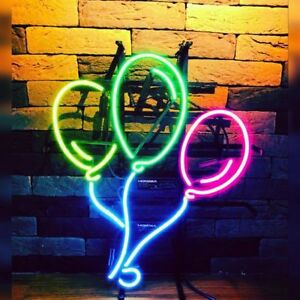 "17""x14""Three Balloons Neon Sign Light Handcraft Artwork Home Room Wall Hanging"