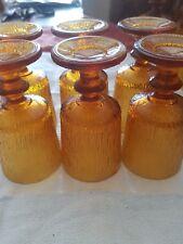 lot 6 verres anciens moulés jaunes vintage année 70