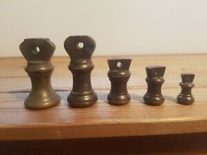 Collection Of Brass Bell Weights - 2x 4oz, 2oz, 1oz & Other