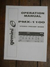 Gemini PMX-1100 Stereo DJ Mixer 5-Page Factory Operation Manual, Used