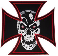 Skull in Maltese Iron Cross Embroidered Large Back Patch Motorcycle Biker