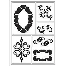 Viva Decor Flexible Sticky Stencil - Ornate Frames Scroll 6 designs