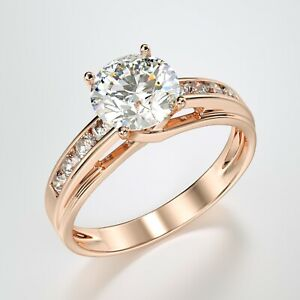 Solid 14K Rose Pink Gold Solitaire Engagement Ring 1.00 Ct.