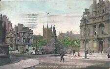 Postcard - George Stephenson's Monument Newcastle on Tyne posted 1924