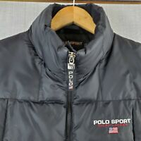 VTG 90's POLO SPORT Size XL Down Filled Puffy Vest Quilted Mens Black Spell Out