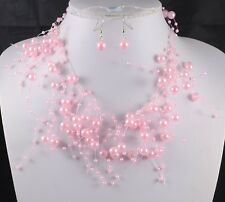 Floating Pink Faux Pearl Necklace and Earrings Set
