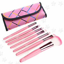 7X Professional Cosmetic Face Eyeshadow Make Up Brush Kit with pink bag case