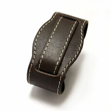 P&B M18 military brown leather bund watch strap 20 mm lugs contrast thread