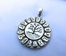 Sterling Silver (925)  Tree  Of   Life  Rune  Circle  Pendant  !!        New  !!