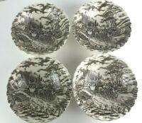 Royal Mail Ironstone Cereal Soup Bowls Dishes Lot Set 4 Vintage Staffordshire