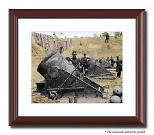 """Battery Cannon Soldiers Mortar 11x14"""" Framed Photo Print Color Civil War -01001"""