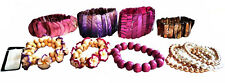 Lot of 12 Bracelets Abalone Shells- Pearls- Floral Beeds- Pink Wood & Cloisonee