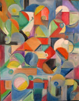 abstract A SWANK AFFAIR new oil painting canvas original art signed Crowell