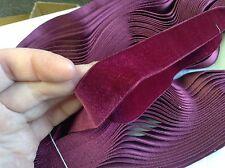 "9 Yards 1"" Raspberry FRENCH Vintage Silk Rayon Satin Back Velvet Ribbon Fabric"