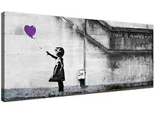 Modern Purple Canvas Art of Banksy Balloon Girl - 1223