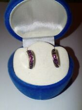 purple rhinestone earrings - oorbellen met paarse strass