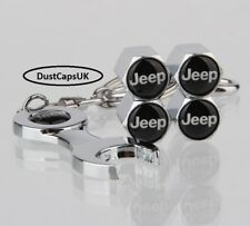 x5 Chrome Wheel Tyre Valve Dust Caps Keyring Wrench Spanner Anti Theft JEEP UK