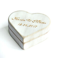 Heart Ring Box Rustic Wedding Ring Bearer Box, Vintage White Heart Ring Box