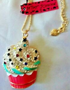 """CUPCAKE PENDANT 24"""" CHAIN NECKLACE LARGE BETSEY JOHNSON NWT"""