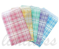 PAPER GIFT BAGS  & JEWELRY BAGS - 5 COLORS AND 4 SIZES PAPER BAGS PLAID ASSORTED