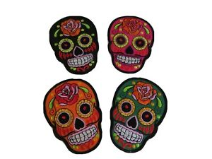 Set of 4 Mexican Sugar Skull Tattoo Biker Sew Iron on Patch Embroidered Applique