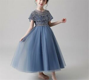 Kid Girl Blue Sequined Performance Graduation Wedding Birthday Party Lace Dress