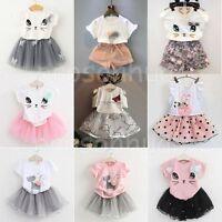 Toddler Kids Baby Girls Outfits Clothes T-shirt Tops+Skirt/Shorts/Dress 2PCS Set