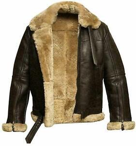 Fur Aviator RAF Pilot B3 Flying Brown Bomber Mens Leather Jacket  Sheepskin