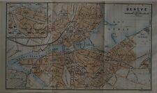1920 Road Map GENEVA Switzerland Tramways Water Taxis Railways Stations Bridges