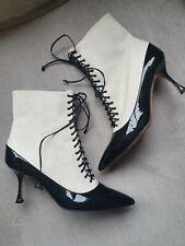 Manolo Blahnik Bartola Patent Black Cream Leather Shoe Boots Size 40 Uk 7