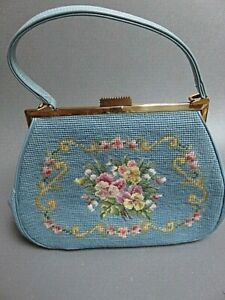 vintage very intricate blue Needlepoint purse handbag