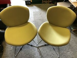 Lime Green Chairs Pair of Accent Lounge Dining Chair Metal Legs Feet Chrome Wood