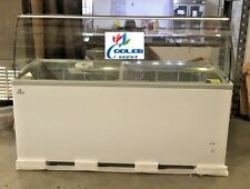 "NEW 72"" Ice Cream Gelato Glass Dipping Freezer Showcase Display Commercial NSF"
