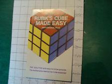 UNREAD Rubik Book: RUBIK'S CUBE MADE EASY jack Eidswick c. 1981 1st edition 55pg
