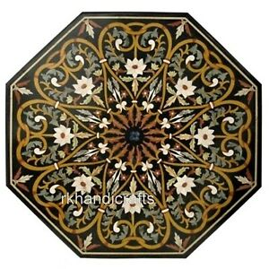 36 Inches Marble Coffee Table Top Handmade Dining Table with Pietra Dura Art